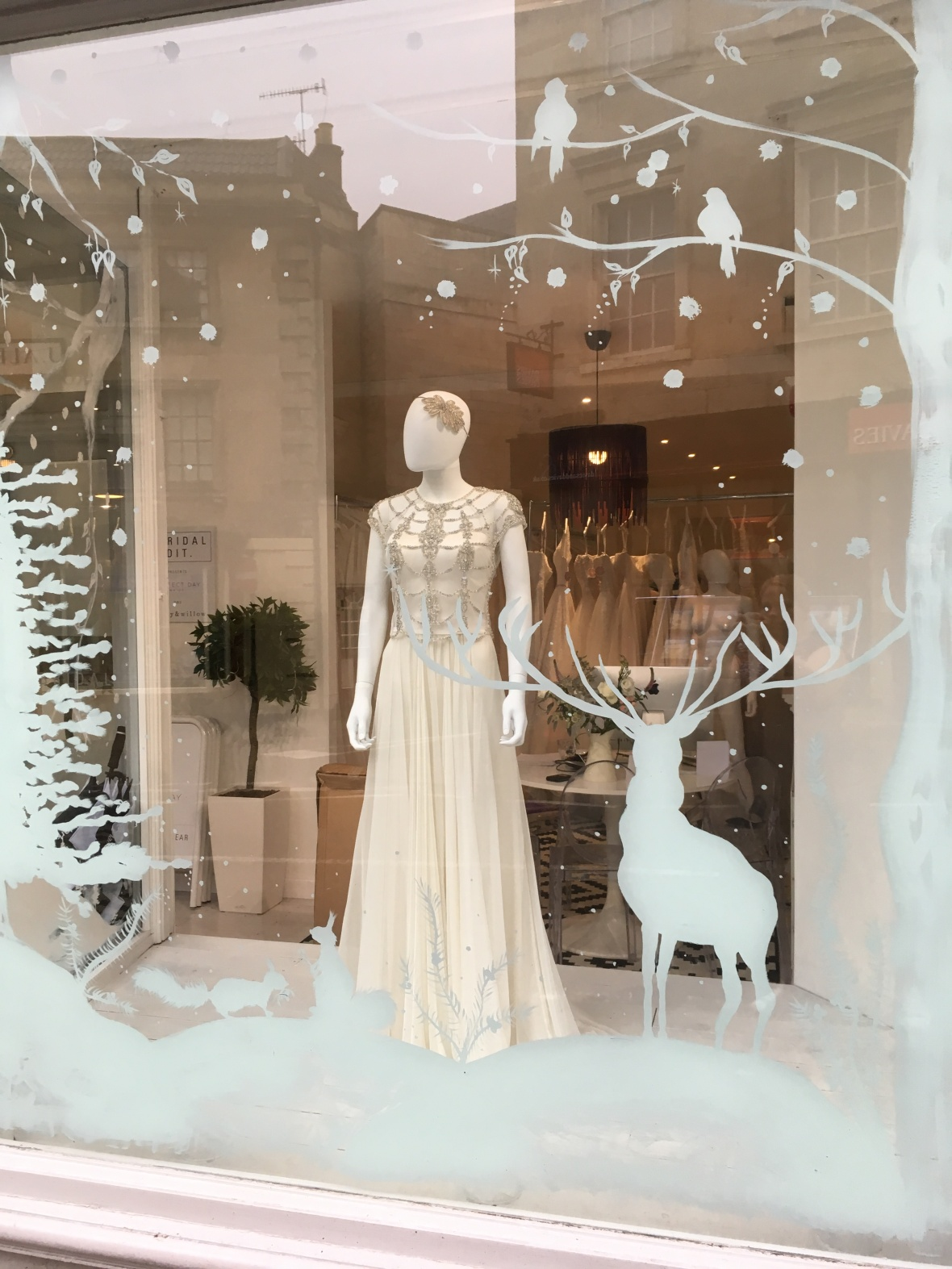 Christmas Winter Wonderland Bridal Shop Window Display, Bradford-on-Avon nr Bath.