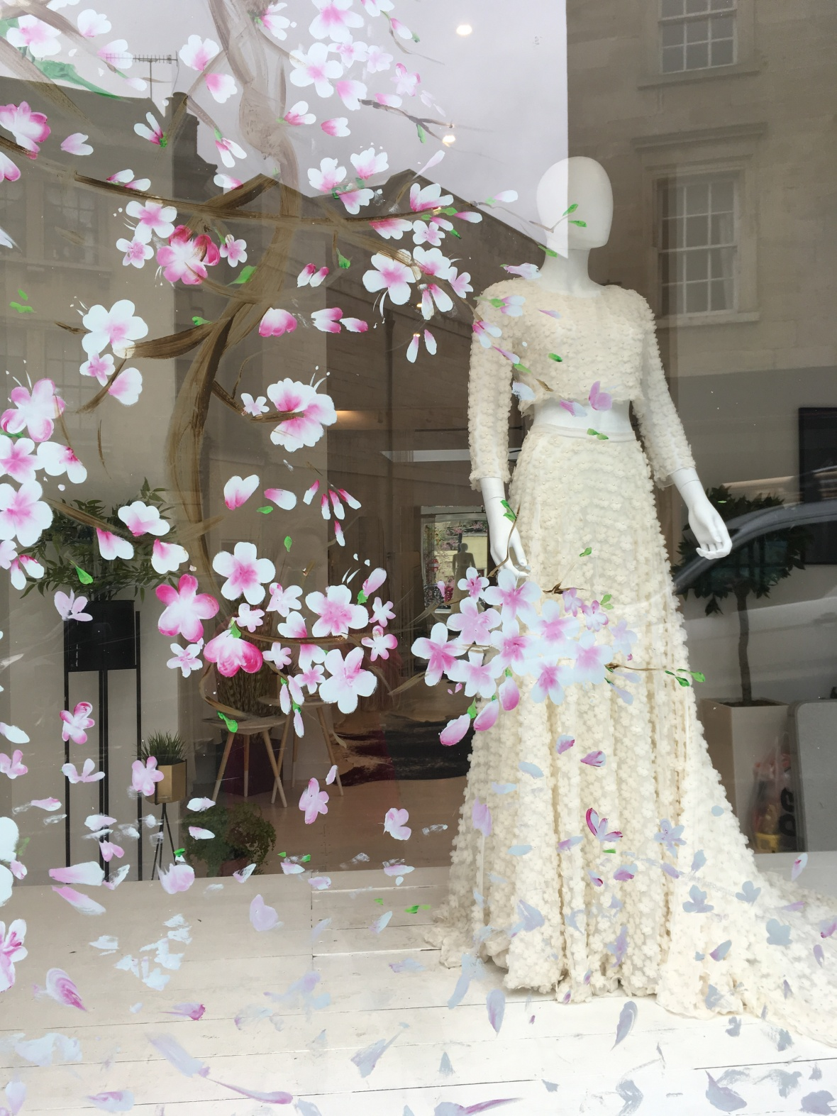 Hand Painted Cherry Blossom Bridal Shop Window Display for Flossy & Willow, Bradford-on-Avon near Bath.