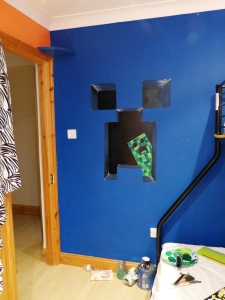 Minecraft wall mural for a boys bedroom in Gloucester.